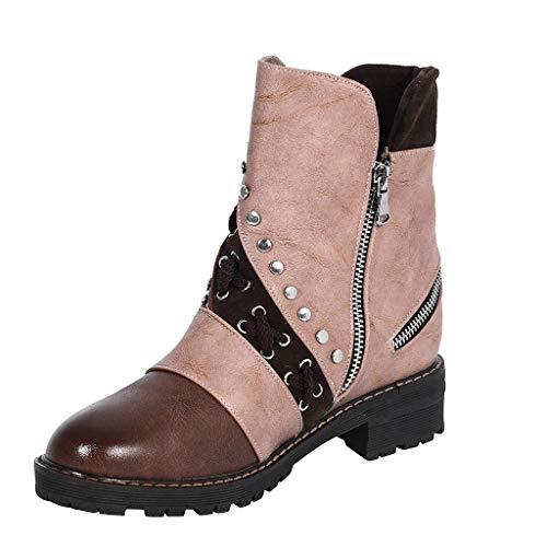 Tohole Chelsea Boots Damen Kurzschaft Winter Stiefel Warm Gefüttert Ankle Stiefeletten rutschfeste Vintage Zip Studded Booties Worker Boots (Braun,35 EU) -