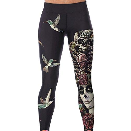 Frauen Leggins Unheimlich Schädel Böse Rose Halloween Capri Hosen Strumpfhosen für Sport