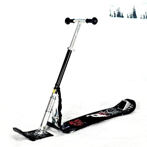Rayuwen Slittino Alluminio Attrezzatura da Sci Esterno in con Slitta Neve per Bambini Ski Scooter Snowboard Pieghevole Kick Youth