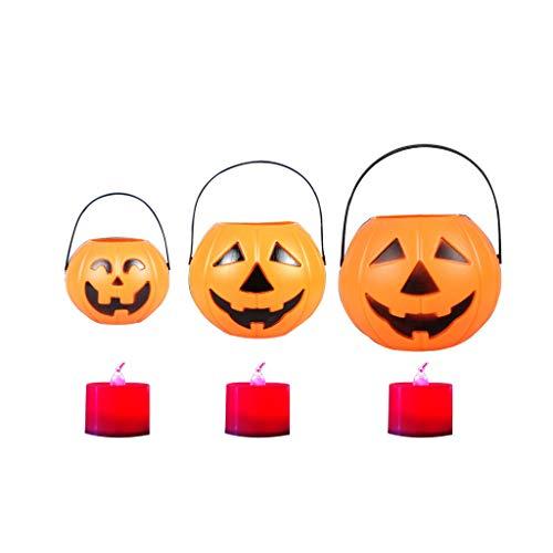 Siyushop Halloween Kürbis Lichter Laternen dreiteilige Anzug, Laterne Halloween Kürbis Lichter Dekor für Indoor Outdoor Party Ideen-mit Kerze (Color : - Outdoor-ideen Halloween-dekoration