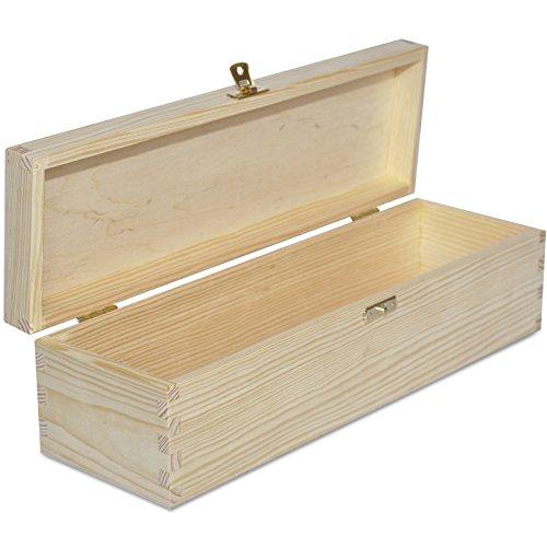 Creative Deco Wein-Kiste aus Natürliches Kiefern-Holz | Wein-Box für 1 Flasche mit Deckel und Verschluss | 36 x 11 x 9,8 cm | Perfekt für Decoupage, Lagerung, Dekoration oder als Geschenk-Holzkiste