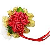 Westeng fiore fiore braccialetto fiore all'occhiello sposa o damigella d'onore bella simulazione di fiori decorativi per matrimoni Festa o danze (B)