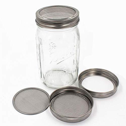 Sembrar Sprouter Germinatio kit de la cubierta del brote tarros con acero inoxidable de germinación coladores Tapas para uso en el hogar