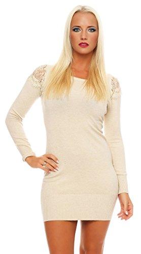 4269 Fashion4Young Damen Longpullover Strickkleid Pullover Long Feinstrick Long Pulli Minikleid Beige