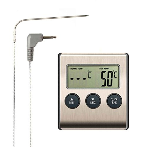 busirde Digitale LCD-Display Probe Lebensmittel-Thermometer Timer Bakeware Küche BBQ Fleisch Gartemperatur Meter -