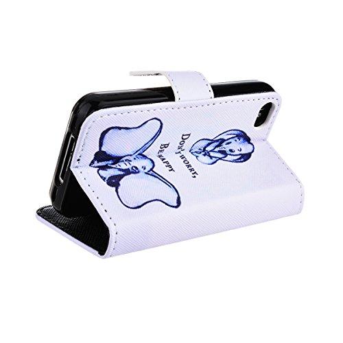 GrandEver PU Leather Case Étui pour iPhone 4 4S 4 G Bleu Caisse en Cuir Fermeture Ventouse Wallet Case Book style-Housse Coque Étui Etui à Clapet Folio de Cas Shell de Protection Souple Silicone Back  blu elefante