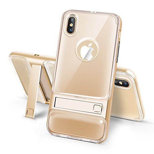 BCIT iPhone 8 Hülle - Hybrid kratzfeste stoßdämpfende TPU +PC Bumper Frame Dual Layer Tasche Schutzhülle mit Ständer für iPhone 8 - Transparent Gold Transparent & Gold
