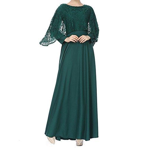 Muslimische Vintage Langarm Kleid Frauen Spitze Patchwork Knöchellang Kleider Tunika Abaya Dubai...