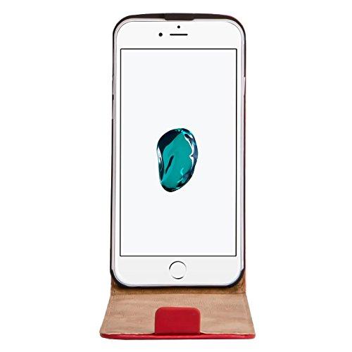 Premium Schutzhülle für - iPhone 7 Plus - Hülle Flip Case Wallet Tasche aus PU Leder Farbe: Grün Rot
