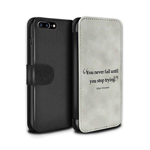 STUFF4 PU-Leder Hülle/Case/Tasche/Cover für Apple iPhone 8 Plus / William Shakespeare Muster / Berühmte Zitate Kollektion Albert Einstein