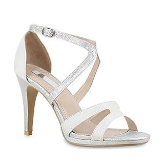 Stiefelparadies Damen Riemchensandaletten Sandaletten Stilettos High Heels Abiball Hochzeit Braut Schuhe 130258 Silber Glitzer Schnalle 37 Flandell