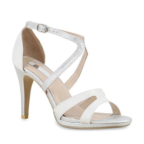 Stiefelparadies Damen Riemchensandaletten Sandaletten Stilettos High Heels Abiball Hochzeit Braut Schuhe 130258 Silber Glitzer Schnalle 41 Flandell