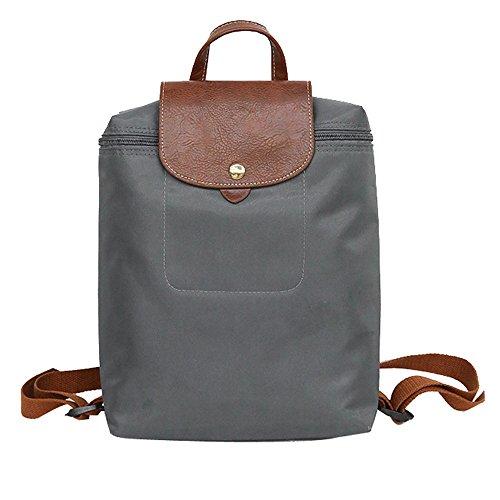 Zolimx Damen mode Rucksack Frauen Nylon mit Reißverschluss Verschluss Rucksack Tasche Student Rucksack eine wasserdichte Rucksack-Tasche Falttasche Umhängetasche (Grau)