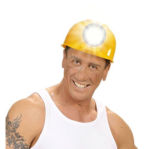 Amakando Bauhelm Schutzhelm Kopfschutz Bauarbeiterhelm Sicherheitshelm Handwerker Kostüm Zubehör Bauarbeiter Helm mit Lampe (Bauarbeiter Kostüm Zubehör)