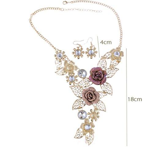 Kette Schmuck halskette Damen DAY.LIN Frauen Elegant Vintage Flower Gold Halskette Anweisung Ohrringe Schmuck-Set - 2