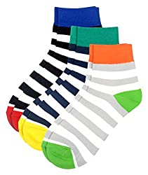 Color Fevrr Mens Low Cut Cotton Socks (Multi-Coloured, Set of 3)