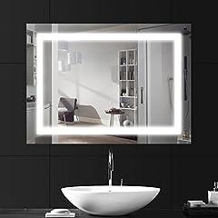 Idea Regalo - LEBRIGHT Specchi LED 18W 80x60cm Specchi da parete con Interruttore,Ingresso AC 230V,lucido argento a parete con luce a specchi con pulsante a tendina (6000K - Bianco Freddo)
