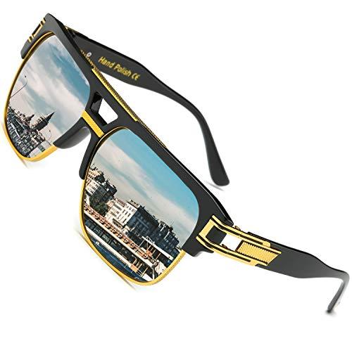 SHEEN KELLY Retro Oversized Sonnenbrille Metall Rahmen großen brille Square Spiegel herren damen Luxus Eyewear hälfte frame piloten Gold UV400 Spiegel Silber Linsen