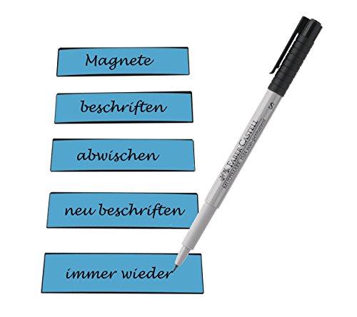 25 beschreibbare Magnetstreifen inkl. Stift, blau - 100x30mm