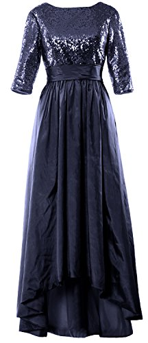 MACloth Women 3/4 Sleeve Sequin Taffeta High-Low Prom Dress Party Formal Gown Dark Navy