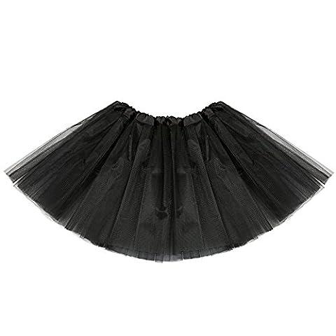 JUYUAN-EU Mädchen Tütü Minirock Organza Pettiskirt 3 Layers Petticoat Damen