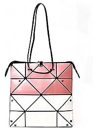 Felice Creative Geometric Split Joint Shoulder Sling Bag Double Color Leather Womens Handbag (Pink+White)