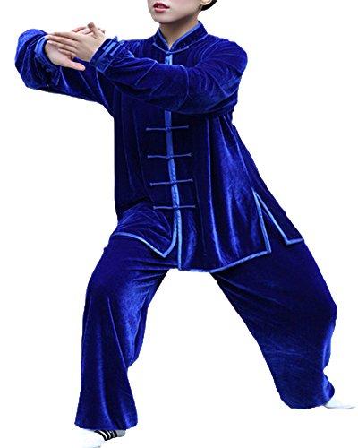 Shifan comodo tai chi abbigliamento gong fu arti marziali tuta unisex blu zaffiro l