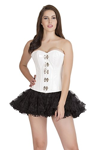CorsetsNmore White PVC Leather Steampunk Costume Waist Training Bustier Overbust Corset Top steampunk buy now online