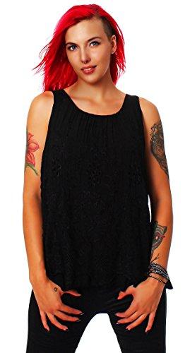 Moda Italy Femmes 2-Couche Chemisier sans Manches Chemise Top Loose Fit Tunique avec Motif Crochet (Taille Unique, 38-42) Noir