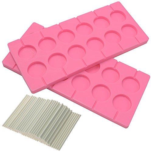 -capacity rund Schokolade Hard Candy Silikon Lollipop Formen mit 100Zählen 10,2cm Lollypop Sucker Sticks für Halloween Weihnachten Parteien ()
