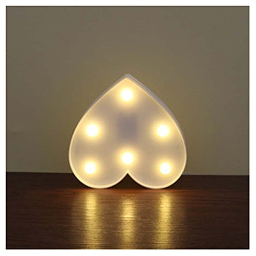 Buchstaben-Zeichen, EONANT Dekorative Up in Lights Kunststoff Warm White Lights mit batteriebetriebenen LED-Leuchten, Herz-Zeichen (Weiß)