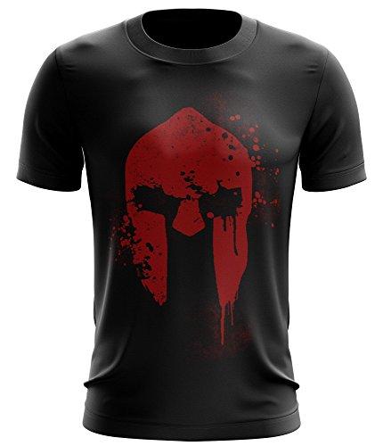 Performance-grafik-t-shirt (Stylotex ® Fitness T-Shirt Herren Sport Shirt | Spartan Helmet | Gym Tshirts für Performance beim Training | Männer Kurzarm | Funktionelle Sport Bekleidung, Größe:L, Farbe:schwarz)