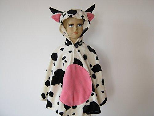 fasching karneval halloween kostüm cape für kleinkinder aus fellimitat kuh (Kuh Kleinkind Halloween Kostüme)