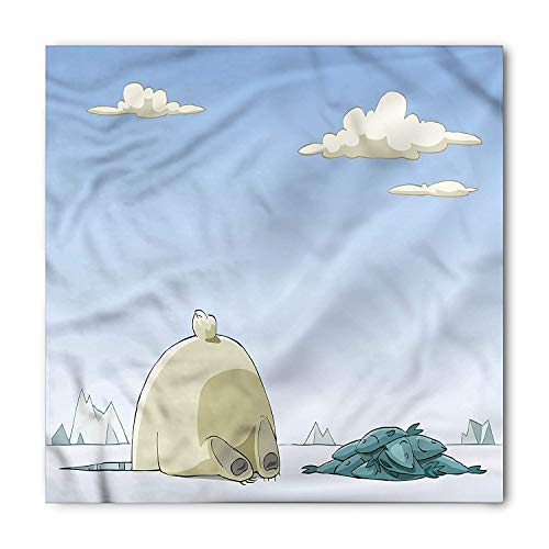 Cartoon Bandana, Polar Bear Catches Fish, Unisex Head and Neck Tie M100*100CM
