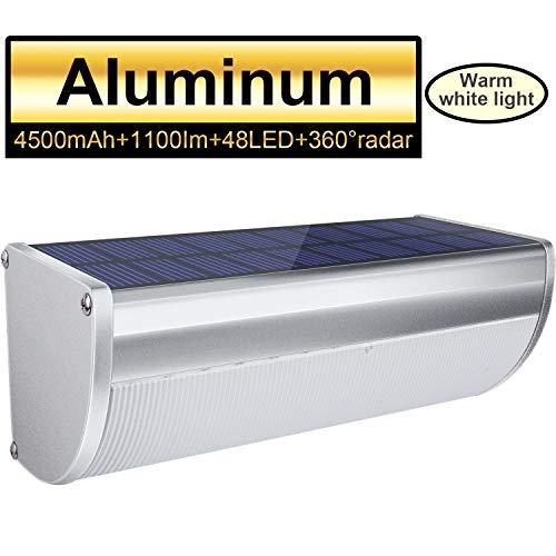 Licwshi Luci solari 48LED 4500mAh esterna impermeabile lega di alluminio Housing, 1100lm radar sensore di movimento per Step, Giardino, Cortile, Deck-Luce bianca calda (1 Pack)