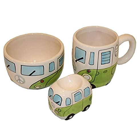 Rétro motif camping-car Set Petit Déjeuner–Bol Coquetier et Mug–Vert