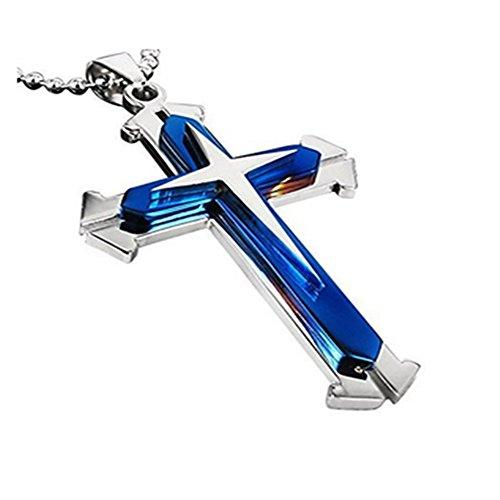 Runfon Herren-Halskette Anhänger Edelstahl CZ Silber Gold Zwei Ton Blau Kreuz - mit 58,4 cm Kette 100{33510574f0adf90d30d547edb12d178029f521d540fb2ef87a5c8949067609e5} Neu