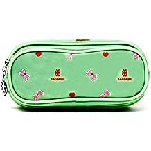 Fusine™ Premium Quality Bagmire Double Compartment Featured Kids Multi Purpose / Stationary Silicone Pouch (Multicolor) (Green)