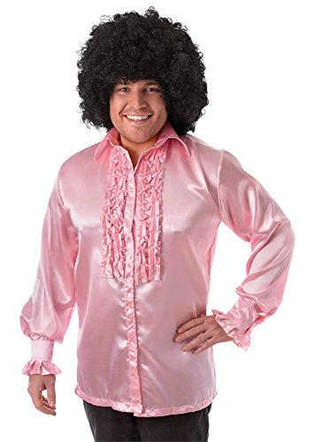 6Satin Shirt mit Rüschen, pink, 42–Blumenkasten (Ballsaal Tanz Kostüm Zubehör)