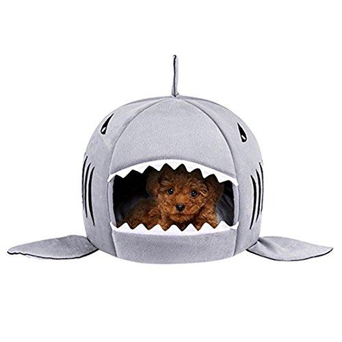 Hai Hundehütte für Hund und Katze Haustier Nest (S:16.5*16.5*15.7 inch, grau)