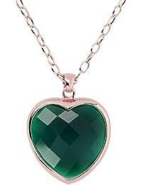 e78f643b39db Bronzallure Collar de Mujer de Oro Rosa de 18 Quilates con ágata Verde
