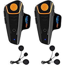 Fodsports BT-S2 Casque de Moto Intercom Casque interphone Système de Communication Bluetooth étanche avec 1000 m, GPS, Radio FM, Lecteur MP3, Full Duplex, Main Libre (2 Packs Soft Cable headsets)