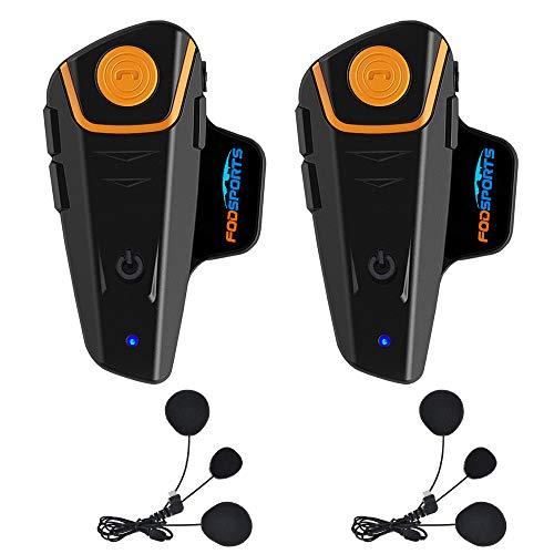 Fodsports Bluetooth Motorrad Gegensprechanlage Motorradhelm Kommunikation Walkie-Talkie Intercom Headset mit 1000m, GPS, FM Radio, MP3 Player (2 Pack with Soft Cable) Walkie Talkie Gps