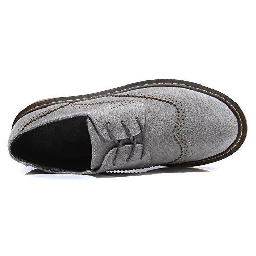 Smilun Chaussures Femme Brogues Richelieu Derby Cuir Nubuck Plat Bout Rond Grey
