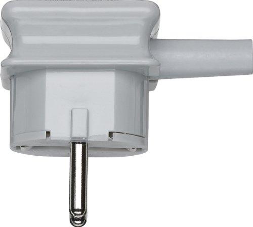 Merten 120963 Bruchgeschützter SCHUKO-Stecker mit Knickschutztülle, grau, 250 V, Weiß