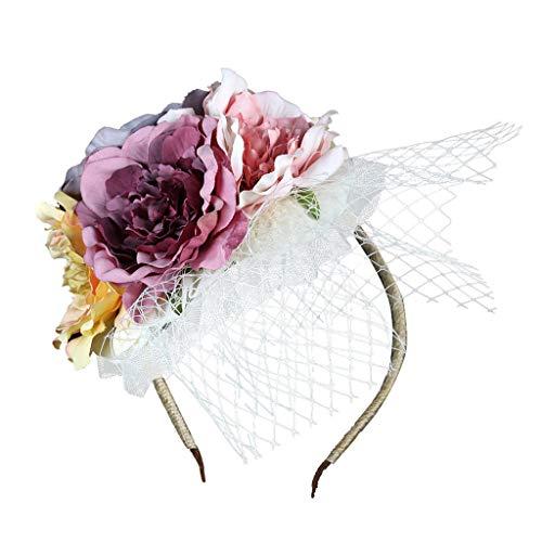 Knowin Haarband Blumenhut Pillbox Hut Cocktail Party Hut Bowknot Haarspange Für Mädchen und Frauen Super Feenhaftes Haarstirnband Kopfbedeckung Süßes Prinzessin Hochzeits Kopfschmuck