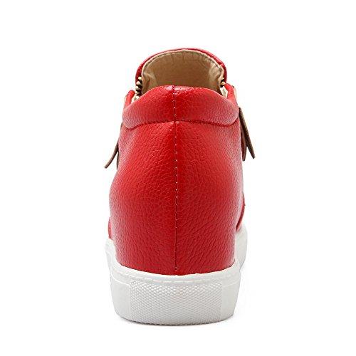 AllhqFashion Damen Pu Leder Mittler Absatz Rund Zehe Rein Reißverschluss Pumps Schuhe Rot