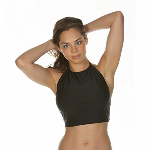 Lycra-top-t-shirts (KKompany Damen Bluse Beach Wickeln Lycra Bikini/Tankini Top T-Shirt, Schwarz)
