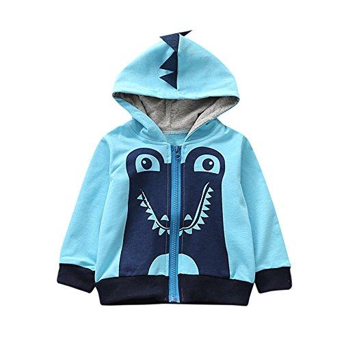 Kukul Sudaderas con capucha para 1-4 años bebé Niño Nuevo Bebé Ropa Estilo de dibujos animados (Azul Claro, 3 años)