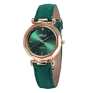LSAltd Art- und Weisefrauen-lederne beiläufige Uhr-analoge Quarzkristallluxusarmbanduhr